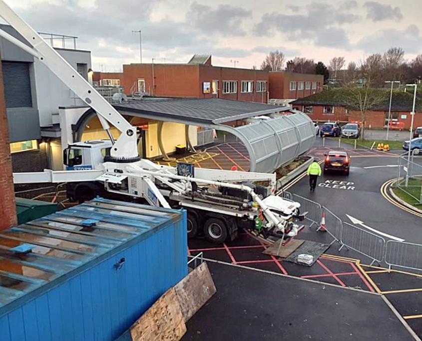 45 metre, boom extended, mobile pump hire, Stott Concrete Pumping, Wigan, 2021